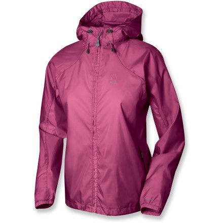 Camp and Hike The women's Microlight jacket from Sierra Designs provide wind protection and water resistance on or off the trail-and they pack up small in their own stuff sack. Polyester taffeta fabric with a polyurethane coating offers ample water resistance and wind blocking at a great value. Features an attached hood and a single-hand adjustable drawcord hem. Seams are not sealed; jacket offers water resistance in light rain for a short period of time. - $21.83