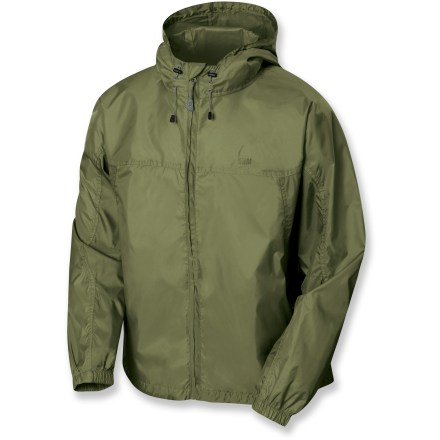 The Microlight jacket from Sierra Designs provide wind protection and water resistance on or off the trail-and they pack up small in their own stuff sack. Polyester taffeta fabric with a polyurethane coating offers ample water resistance and wind blocking at a great value. Features an attached adjustable hood and a single-hand adjustable drawcord hem. Seams are not sealed; jacket offers water resistance in light rain for a short period of time. *Offer not valid for sale-price items ending in $._3 or $._9. - $29.93
