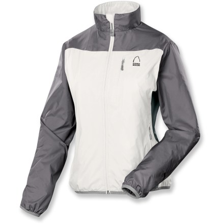 The women's Sierra Designs Maverick jacket is lightly lined to keep you comfortable in your adventures from spring through autumn. Lightweight polyester shell fabric fends off wind and light rains to keep you dry; underarm stretch panels let you move freely. Brushed tricot lining pulls on easily over layers and dries quickly. Center front stormflap adds an extra barrier against chilling winds; soft, tricot chin guard is gentle on your face. Elasticized hem and cuffs help seal warmth inside the Sierra Designs Maverick jacket. Zippered handwarmers and chest pocket keep small essentials close at hand. Closeout. - $46.73