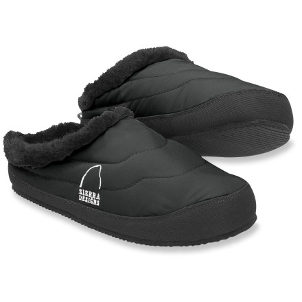 Camp and Hike These cozy, waterproof Sierra Designs Down Shootie slippers are ideal for running cool-weather errands around town or curling up at the campsite with a good book. Recycled polyester features a solvent-free, waterproof, breathable laminate to keep your feet dry. 700-fill-power down surrounds your feet in lightweight, toasty warmth. Faux fur cuffs are soft on your skin. Lightweight, textured EVA outsoles offer gentle grip around the campsite. Highly compressible, these Down Shootie slippers tuck easily into your pack-perfect for after long hikes. Closeout. - $23.83