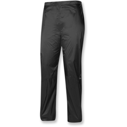 At a scant 6 oz., the ultralight women's Sierra Designs Isotope pants are all the backup you need in your pack when the weather turns ugly. Ripstop polyester shell features a waterproof breathable laminate for complete protection from the elements. Fully taped seams create the ultimate seal against water and snow. Drawcord waist adjusts the fit. Articulated knees encourage freedom of movement. The Sierra Designs Isotope pants sport lower leg vents outfitted with stormflaps to keep snow, water and debris out. Closeout. - $59.93