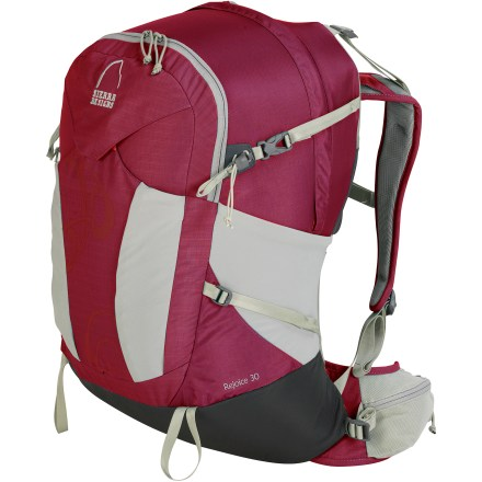 Camp and Hike The Sierra Designs Rejoice 30 pack offers women a lightweight and comfortable pack that's perfect for day hikes and overnight trips. CURV framesheet and single DAC aluminum stay offer support whether carrying a light load or enough for a night in the backcountry. Mesh-backed foam shoulder straps, curved waistbelt and padded back panel deliver comfort; waistbelt features stabilizers to keep the pack close to your body. Main compartment is sized to carry everything you need for a long hike; hydration reservoir pocket in main compartment helps you stay hydrated, reservoir not included. Expandable front pocket is perfect for quick-access items. Side compression straps stabilize load for jostle-free carry. Trekking pole loops and gear attachment points on pack exterior. The Sierra Designs Rejoice 30 features side water bottle pockets and small pockets on the waistbelt. Closeout. - $45.73