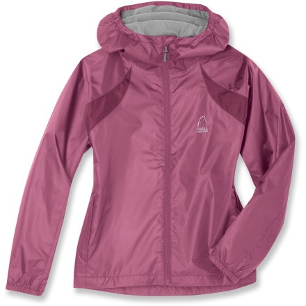Entertainment The Sierra Designs Microlight Accelerator jacket keeps her comfortable while on the playground or in the backcountry. Lightweight polyester fabric features a Durable Water Repellent finish for light-weather protection. Polyester tricot lining disperses moisture away from the skin. Brushed tricot chin guard is soft against delicate skin. Elastic cuffs seal in the warmth. Microlight Accelerator jacket features 2 zippered hand pockets. Includes a reversible stuff sack that can be used as a pillow when stuffed. Closeout. - $29.93
