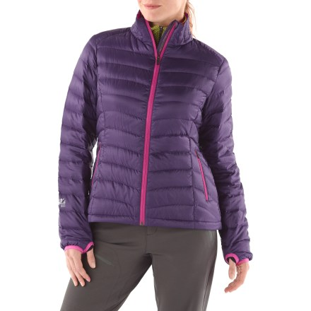 The feature-rich Sierra Designs Gnar Lite women's jacket sports the new DriDown(TM) finish for down insulation. Finally your down can come out to play when it rains! Premium 800-fill-power DriDown goose down insulation is extremely compressible and offers exceptional warmth for its weight. Additionally, DriDown has a hydrophobic finish that keeps rain, sweat or melting snow from soaking in while allowing internal moisture to easily escape. It stays dry 7 times longer, retains 34% more loft when exposed to humidity and moisture, and dries 33% faster than untreated down. Durable, yet lightweight 30-denier ripstop polyester shell has a Durable Water Resistant finish to repel exterior moisture. Stormflap behind the full-length front zipper keeps breezes out. Elasticized cuffs with thumbholes keep wrists warm and sleeves in place. Jacket has 2 zip hand pockets, 2 interior drop-in pockets and 1 interior zip pocket. Comes with a stuff sack for easy packing. Sierra Designs Gnar jacket has a comfortable regular fit, so it's perfect for layering underneath a shell or wearing as your outer jacket with light layers underneath. - $131.93