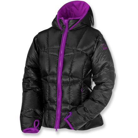 The Sierra Designs DriDown Tov woman's jacket offers the warmth of a traditional puffy down jacket but with new DriDown insulation that stays lofted, dry and warm even if the down contacts dampness. Insulated with 600-fill-power DriDown hydrophobic down insulation, the Tov outperforms standard down by taking the chill out of the coldest, dampest days. Regular down is treated with a molecular-level polymer to create a hydrophobic finish on each individual down plume. DriDown stays dry longer, lofts better and dries faster than regular down to keep you warm in any environment. Additionally, DriDown keeps rain, sweat or melting snow from soaking in and allows internal moisture to easily escape. Baffle construction keeps the down from migrating, eliminating cold spots; hung lining enhances warmth. Fitted, adjustable elasticized hood and elasticized cuffs with thumbholes seal in warmth. Stormflap behind the full-length front zipper keeps breezes out; chin guard protects sensitive skin. Jacket has 2 zip hand pockets; includes1 interior zip pocket and a mesh drop-in pocket. Sierra Designs DriDown Tov jacket comes with a stuff sack for easy packing. - $128.83