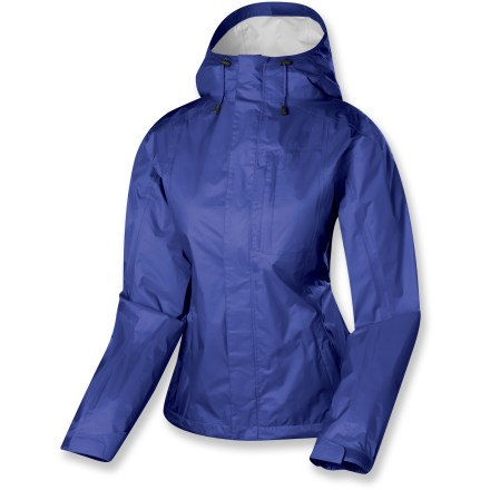 The Sierra Designs Hurricane women's rain jacket is a great choice for sudden downpours in the backcountry. Ripstop nylon features a solvent-free, waterproof breathable laminate; polyurethane finish reduces interior condensation. Full, PVC-free seam taping ensures complete protection. Double stormflaps surround full-length front zipper; underarm zippers allow airflow as you warm up. Helmet-compatible hood. Drawcord hem and adjustable cuffs seal out the elements. Sierra Designs Hurricane jacket includes a stuff sack for packing. - $55.93