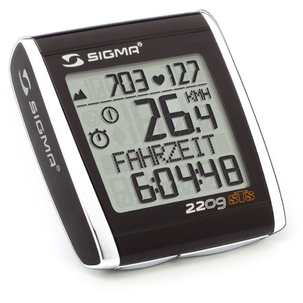 Fitness The SIGMA SPORT BC2209 STS MHR Heart Rate / Cadence wireless bike computer is a multifunction device that offers altitude, speed, heart rate, cadence and temperature. Thanks to the included wrist strap, the device can also be used as a hiking computer with all heart rate, time and altitude functions. Altitude settings can be entered by air pressure, current altitude or starting altitude. Altitude measurement functions: current / maximum altitude, day's climb and descent, and total ride time for Bike 1, Bike 2 and Bike 1 + 2 (not shown while riding). Hiking functions: day's / total hiking time, target time, day's / total climb and descent, maximum altitude, average and maximum heart rate, calories and current temperature. Calculates actual heart rate, average heart rate and maximum heart rate, plus calorie consumption; heart rate monitor chest strap is included. Temperature display. Shows current and average cadence and a comparison of current and average speed. Programmable trip section counts up and counts down. Adjusts for 2 different wheel sizes with automatic recognition of second bike; compatible with bladed spokes. 4 ergonomic and easy-to-reach buttons means the computer is simple to use while riding; backlight optimizes readability at night. Choose from 7 language settings. When battery starts to run out, a corresponding warning appears on the display; all presettings and total values remain intact when battery is changed. Batteries included, but not installed. - $119.99