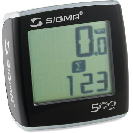 Fitness The Sigma Sport BC509 bike computer is simple and affordable. Attach, set wheel size and clock, and done. You're ready to ride. Automatic function scan (auto scroll) has self-explanatory icons and can be switched on or off. Large display is easy to read. Watertight design and tool-free mounting. Batteries included, but not installed. Includes a voucher to download the latest version of Data Center Software at 50% off; allows manual data input to your PC from each trip for detailed evaluation. - $13.93