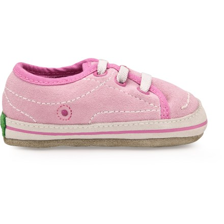 The Simple Weetire shoes feature mindful construction and comfort for little feet. Suede leather uppers are soft, flexible and washable. Organic cotton linings are soft and fuzzy to keep feet comfortable. Foam footbeds provide cushioned support. Suede leather outsoles are perfect for indoor use. Closeout. - $10.73