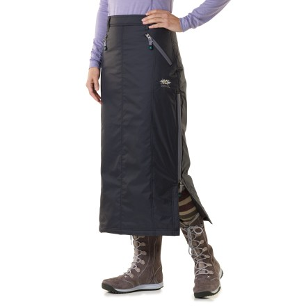 Hunting The Skhoop Down skirt has a long length and down insulation for added warmth and coverage. Nylon shell is lightweight and packable. Insulated with quality 500-fill-power duck down for warmth and compressibility. 4 zippered pockets secure essentials. Side zippered entry. - $98.83