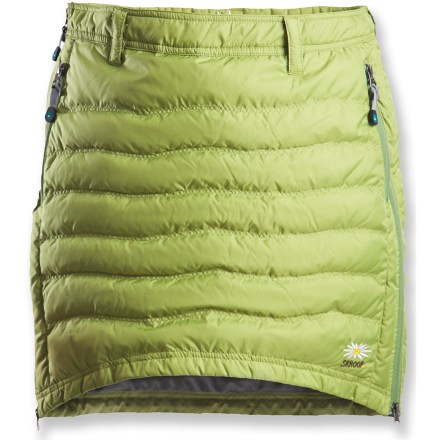 Hunting The Skhoop Short Down skirt is insulated with 500-fill-power duck down for added warmth if temperatures suddenly dip. Quilted polyester shell is lightweight and packable. Insulated with quality 500-fill-power duck down for warmth and compressibility. 4 zippered pockets secure essentials. Side zippered entry. - $159.00