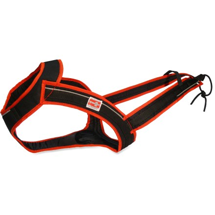Fitness Cone-shaped yoke conforms comfortably to a dog's contours. Pulling force is distributed uniformly across the yoke and chest plate; open design allows your dog's back to flex freely while running. Skijor Now Fastback dog harness features reflective accents that run the entire length of the harness for enhanced visibility in low light. The Skijor Now Fastback dog harness provides superior comfort and pulling power to your snow-happy dog. Tough nylon material will withstand years of heavy cold-weather use. - $39.83