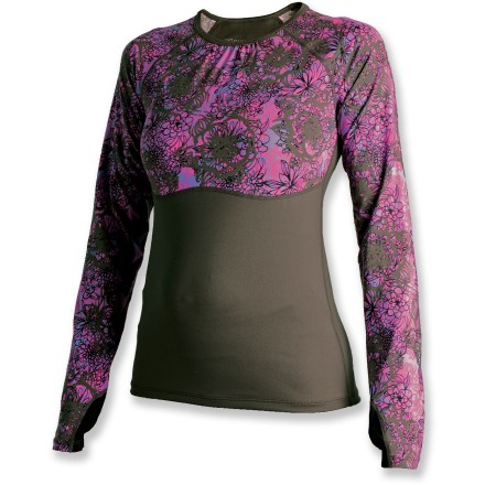Fitness The SkirtSports RunnersDream top is ready to log miles. Lightweight polyester and spandex fabric offers quick-drying comfort, 4-way stretch and a cool feel against skin. Mesh torso and back panels ventilate excess body heat as you warm up. Extra-long sleeves with thumbholes stay put as you run. Raglan sleeves enhance freedom of motion. Dropped hem extends coverage. The SkirtSports Runner's Dream T-shirt features a 24.5 in. back length and a close-to-skin fit. Closeout. - $17.73