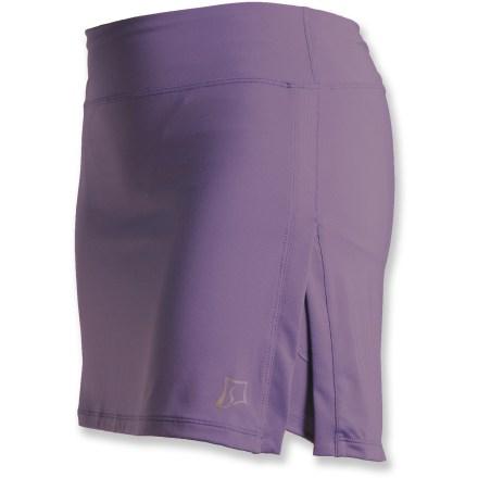 From the treadmill to the trail, the SkirtSports GymGirl Ultra skirt is ready to perform. Breathable polyester and spandex fabric has a soft feel and wicks away moisture to keep you comfortable. Built-in liner shorts wick moisture and mesh panels enhance ventilation; a pocket on each thigh stashes your music player, keys, gels, cash or other small accessories. Soft waistband sits below the natural waistline. 14.5 in. skirt features side slits; slightly dropped rear portion of skirt is 15.5 in. in length. Closeout. - $17.73