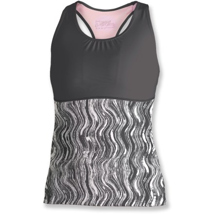 Fitness The SkirtSports WonderGirl is a great tank top for workouts. Lightweight polyester and spandex fabric offers quick-drying comfort, 4-way stretch and a cool feel against skin. Racerback promotes unrestricted motion; front and rear mesh fabric cools skin as you perspire. Built-in shelf bra provides light support and coverage; front pocket in bra stores energy gels. The formfitting SkirtSports WonderGirl tank top sits at top of hips. Closeout. - $15.73