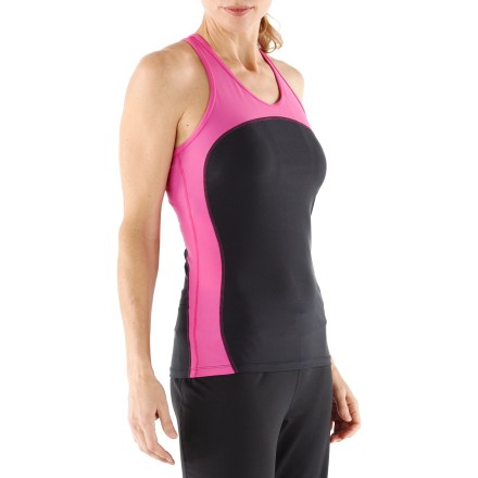 Fitness Built for your active life, the slimming lines and supportive Multi Sport Tank from SkirtSports suits every sport you do! Quick-drying nylon/spandex blend stretches with you, feels soft against your skin and efficiently wicks moisture. Contoured, body-hugging fit runs slightly long in back. Buit-in bra adds extra support; fits A-C cups. Built-in secret compartment in bra-SkirtSports calls it the Cleavage Alley Pocket-safely stashes lip balm, a key, or cash. Racer-back design increases arm mobility; hidden zipper pocket at back center keeps a few goodies accessible. With a UPF 30 rating, fabric provides very good protection against harmful ultraviolet rays. - $29.83