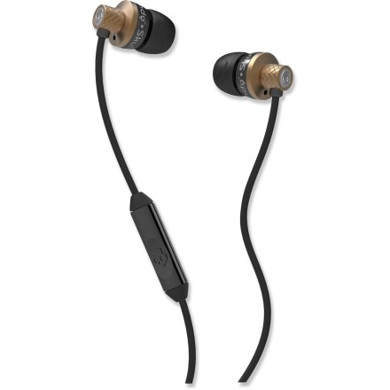 Camp and Hike The copper and black Skullcandy Titan earbuds feature precision-cut metal housings that are both durable and attractive. The speakers deliver powerful sound and rich tones. Features 11mm-diameter speakers, 1.3m braided-aluminum cable and 3.5mm gold-plated plug. Inline mic and control buttons work with most smart phones; they handle phone calls and control the music pause and play functions. Skullcandy Titan earbuds come with 3 sizes of soft, interchangeable silicone gel buds and a metal carrying case. - $36.93