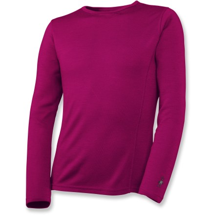 This SmartWool midweight long underwear crew top for girls offers natural stretch and breathability for stop-and-go activities or when temperatures fluctuate. - $26.83