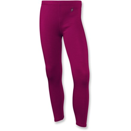 Fitness The SmartWool midweight long underwear bottoms for girls offer a warm base layer that regulates warmth, wicks moisture away and repels outside moisture for stop-and-go activities in cold weather. - $37.93