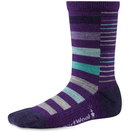 The SmartWool Split Stripe socks offer the performance of wool to keep girls' feet dry and comfortable. - $9.93