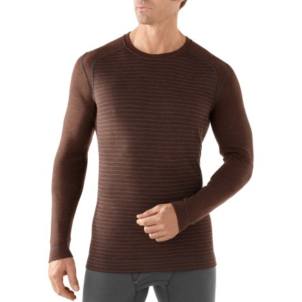 The men's SmartWool Midweight Pattern crew top lets you express a sense of style while wearing a base layer-with stripes! - $69.93