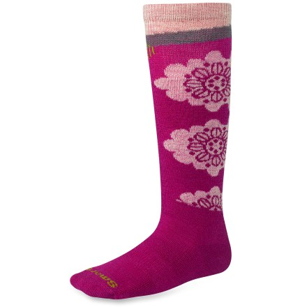 Blend of wool and nylon provides excellent temperature control and moisture management. SmartFit system features an elastic arch and ankle brace, and a contour flex zone that eliminates bunching, slipping and sagging. Flat-knit toe seams prevent chafing and increase durability. SmartWool Wintersport Floral socks feature medium cushioning on the shin and foot that provides padding where it's needed without adding bulkiness. SmartWool socks are guaranteed not to itch and can be repeatedly washed and dried without shrinking. *Offer not valid for sale-price items ending in $._3 or $._9. - $15.95