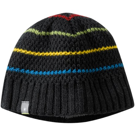 Entertainment Built with a double layer, the SmartWool Warmest hat is great for activities in chilly weather. Fine merino wool and acrylic fabric helps maintain a comfortable temperature on icy winter days. Merino wool wicks, absorbs and evaporates moisture to keep boys dry and comfortable. Hand wash in cold water and lay flat to dry. - $21.93