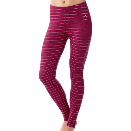 Featuring a fun, striped look, the SmartWool Midweight Pattern long underwear bottoms for women are ideal for stop-and-go activities in cold weather. - $49.93