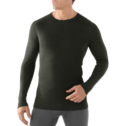Perfect for layering or extra warmth during activity in cool weather, the men's SmartWool Midweight Crew top offers natural stretch and breathability. - $95.00