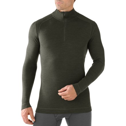 The men's SmartWool Midweight Zip-T top offers natural stretch, insulation and breathability during stop-and-go activities in fluctuating temperatures. - $100.00