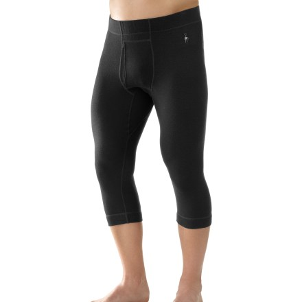 Cut short for winter footwear, the men's SmartWool Midweight Boot Top long underwear bottoms are ideal for stop-and-go activities in cold weather. Merino wool helps maintain comfort whether the climate is warm, cold or in-between. With a UPF 50+ rating, fabric provides excellent protection against harmful ultraviolet rays. Chafe-free flatlock seams enhance comfort. Wide, soft waistband enhances fit; functional fly. Close-to-skin fit and natural rise. The SmartWool Midweight Boot Top long underwear bottoms do not itch and will not shrink; machine wash and dry. - $62.93