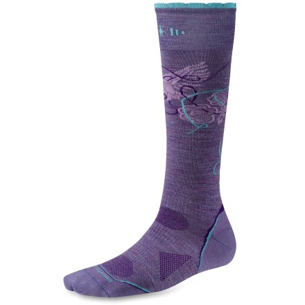 Ski The women's PhD Ski Ulta Light Socks are new and improved, and better than ever. They feature innovative new fabric, a more comfortable fit and smart design details that enhance performance. New 4 Degree Elite Fit System improves comfort; 2 elastics provide greater stretch and recovery to keep the socks in place. Ankle bands, upper instep bands, lower instep bands and arch bands connect to the feet for a great fit and feel. New ReliaWool is a patent-pending reinforcement construction that puts more wool in high wear/high impact areas to increase durability and comfort. Merino wool provides excellent temperature control and moisture management, so you're warm when it's cold and cool when it's warm. Merino wool keeps your feet dry and is naturally odor resistant. Strategically placed mesh zones provide ventilation for temperature and moisture management. Low profile and durable (virtually seamless) toes. SmartWool socks are guaranteed not to itch and can be repeatedly washed and dried without shrinking. SmartWool PhD Ski Ultra Light socks have a 13 in. height. *Discount will be applied when you check out. Offer not valid for sale-price items ending in $._3 or $._9. - $13.93