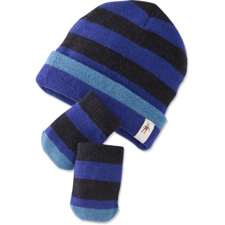Ski The SmartWool Stripe hat and mittens set offers warmth and comfort to your little adventurer. Merino wool provides excellent temperature control and moisture management. Thumbless mittens are easy to put on and take off, and provide 5-finger warmth. Closeout. - $12.83