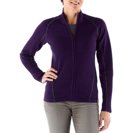 Fitness Just right for a cool fall day, the SmartWool SportKnit Full-Zip sweater adds warmth and style to keep you comfortable. Jersey knit merino wool sweater is accented with a rib-knit collar, cuffs and bottom opening. Soft merino wool is naturally warm, breathable, water- and odor-resistant. Locking zipper pull and chin guard. SmartWool SportKnit sweater has a semifitted cut that's not too tight and not too loose. Machine wash cold on gentle cycle and lay flat to dry. - $49.83