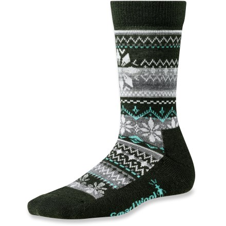 Let it snow! These comfortable SmartWool Snowflake Fairisle socks are made from no-itch SmartWool fabric and feature a festive snowflake design. Merino wool provides excellent temperature control and moisture management; reinforced with stretch nylon to maintain fit. WOW (wool on wool) technology increases wool content in high impact areas, improving durability and overall comfort. SmartWool socks are guaranteed not to itch and can be repeatedly washed and dried without shrinking. Closeout. - $7.73