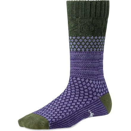 The SmartWool Popcorn Cable socks bring lively style and comfort to your daily adventures. WOW(TM) (wool on wool) technology increases wool content in the heel and forefoot area, improving durability and overall comfort. Cushioned construction delivers comfort for all-day wear; tapered, flat-looped toe boxes elminate bulkiness. SmartWool socks are guaranteed not to itch and can be repeatedly machine washed and dried without shrinking. Closeout. - $10.73