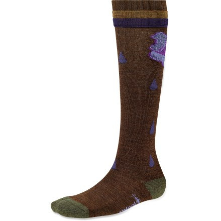 The Between Drops knee-high socks from SmartWool are a welcome addition to your sock collection. You'll be stoked for the fall chill in the air when you choose these limited-edition socks. Merino wool provides excellent temperature control and moisture management, so you're warm when it's cold and cool when it's warm. Merino wool keeps your feet dry and inhospitable to bacteria that can cause odor. WOW(TM) (wool on wool) technology increases wool content in the heel and forefoot area, improving durability and overall comfort. SmartFit system features an elastic arch and ankle brace, along with a contour flex zone to eliminate bunching, slipping and sagging. SmartWool Between Drops socks are guaranteed not to itch and can be repeatedly washed and dried without shrinking. Closeout. - $6.73