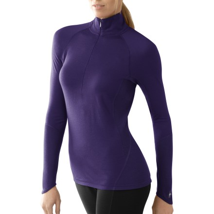 The SmartWool Lightweight Zip top is built for stop-and-go activities in fluctuating temperatures. Jersey-knit merino wool maintains next-to-skin comfort whether the climate is warm, cold or in between. Quarter-length zipper ventilates on demand, and raised collar helps keep your neck warm. Shoulder panels eliminate top shoulder seams and reduce chafing; princess seams add a flattering look. Flatlock side seams are soft, non-bulky and designed to eliminate chafing. Machine washable. Closeout. - $62.73