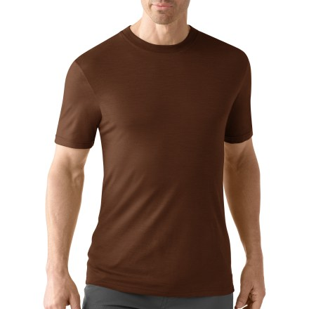 The SmartWool Short Sleeve T-shirt is a great choice for warm-weather activities. Merino wool from New Zealand's alps is a natural, renewable resource that provides thermo-neutral insulation for varying temperatures and activities. Fabric provides UPF 20 sun protection, shielding skin from harmful ultraviolet rays. Machine washable. Relaxed fit. Closeout. - $39.93