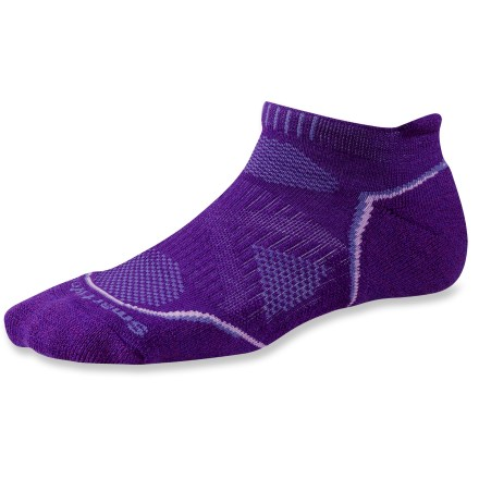 Fitness The SmartWool PhD Outdoor Light Micro socks are a great choice for savvy hikers. WOW (wool on wool) Technology incorporates high-density impact zones into the soles for effective cushioning without adding significant bulk. SmartWool process ensures excellent moisture wicking, breathability and insulation with no-itch softness; plus, they're shrink free! Merino wool provides excellent temperature control and moisture management; reinforced with stretch nylon to maintain fit. 4-degree banded fit system features elastic arches and ankle braces, along with contour flex zones to eliminate bunching, slipping and sagging. Flat-knit sde panels and toe seams reduce compression and maximize ventilation; rib-knit cuffs hold socks up. Closeout. - $10.93