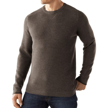 This classic, cozy SmartWool Granite Creek Crew sweater is a must-have for cool-weather sojourns. Merino wool from New Zealand is a natural, renewable fiber that provides insulation for varying temperatures and activities. Granite Creek Crew sweater has a waffle-knit body and embroidered logo on left hip. Hand wash cold, lay flat to dry-or dry clean, as necessary. Relaxed fit. Closeout. - $69.93