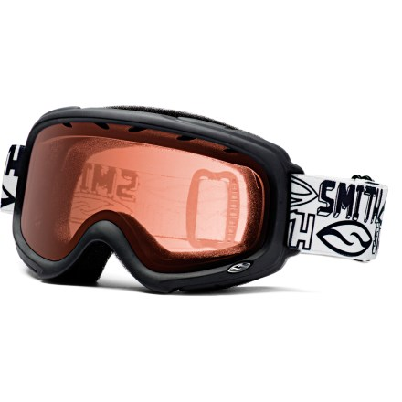 Ski The kid-size Smith Gambler Jr. snow goggles feature classic styling with an active lens ventilation system for enhanced, fog-free vision. Active ventilation system stops fog by evacuating moist air from inside the goggles. Fog-X(TM) antifog treatment is bonded permanently to the inner lens for optimum fog-free vision. Double lenses create an insulation barrier between cold outer air and warm air inside the goggles, preventing fog formation. Self-adjusting split ''V'' nose piece and molded, dual-slide strap provides comfortable fit over the face and around the head. RC36 lens tint combines rose and copper base tints to optimize vision in a variety of conditions. Foam membrane inside goggles reduces pressure from eyeglasses at the temples. Smith Gambler Jr. snow goggles block 100% of the sun's UVA, UVB and UVC rays. - $17.83