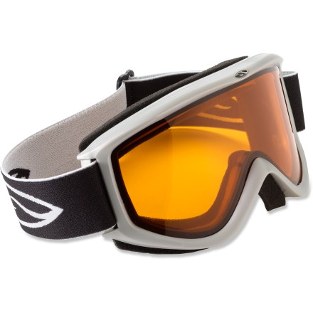 Ski Smith Cascade Classic goggles feature a medium-size frame and a flexible lens that conforms for a great fit and distortion-free vision. Double lenses create an insulation barrier between cold outer air and warm air inside the goggles, preventing fog formation. Fog-X(TM) antifog treatment is bonded permanently to the inner lens for optimum fog-free vision. Self-adjusting split-V nose offers a comfortable fit, and soft hypoallergenic foam creates a total seal around your face. Adjustable strap fits over helmets and hats. Gold Lite lens offers contrast, shadow definition and depth perception in bright, overcast and flat light; provides 55% visible light transmission (VLT). Clear lens is an ideal choice when skiing at night; 84% VLT. - $28.00