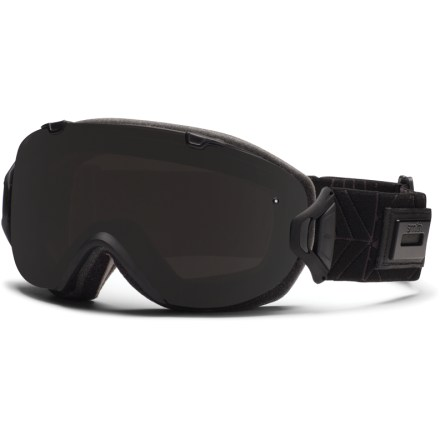 Ski The interchangeable Smith I/OS women's snow goggles offer easy lens-swapping, a sleek rimless design and excellent optics, all with a fit designed for small and medium-size faces. With the flip of a switch, the helmet-compatible Smith I/OS goggles can change lenses to optimize performance in all conditions. Smith Spherical(TM) series lenses allow a wide field of vision and increased volume that maximizes airflow and reduces fogging. Carbonic-X(TM) outer lens is individually molded to offer optimum scratch resistance, increased visual acuity and enhanced contrast sensitivity. Lens tapers from optical center toward the periphery and allows light rays to pass through without refraction; this tapered lens shape provides distortion-free vision. Microporous filter attached to the outer lens increases fog resistance by automatically adjusting to elevation changes, allowing air to pass through while blocking moisture. Patented technology bonds the inner and outer lenses to prevent moisture from entering lenses while letting them breathe; 5x Anti-Fog inner lens offers superb fog protection. 3-layer face foam has a dense base to reduce hot spots, a plush middle layer and a soft fleece top layer to ensure a tight seal, manage moisture and maximize comfort. Extra-wide adjustable strap is backed with silicone grippers and comes with a clip buckle for easy on/off, even over a ski hat or helmet. Mint Leila frame color comes with Ignitor Mirror lens (rose copper tint, 35% visible light transmission (VLT)) and Sensor Mirror lens (light rose tint, 70% VLT). Shadow Purple Riviera frame color comes with Ignitor Mirror lens (rose copper tint, 35% VLT) and Sensor Mirror lens (light rose tint, 70% VLT). The Shadow Purple Riviera color's frame is composed of 40% bio-based material and is part of Smith's Evolve line, which aims to reduce the environmental impact of products. - $104.83