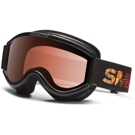 Ski The Smith Challenger Irie Fader OTG kids' snow goggles offer eyewear compatibility and a great all-around lens tint for budding mountain shredders. OTG (over the glasses) design features an enlarged chamber that fits easily over most eyeglasses; foam membrane reduces pressure from eyeglasses at the temples. Exclusive Fog-X(TM) antifog treatment is bonded permanently to the inner lens for optimum fog-free vision. Double lenses create an insulation barrier between cold outer air and warm air inside the goggles, preventing fog formation. RC36 lens tint combines rose and copper base tints to optimize vision in a variety of conditions; allows 36% visible light transmission. Smith Challenger Irie Fader OTG snow goggles block 100% of the sun's UVA, UVB and UVC rays. - $14.83