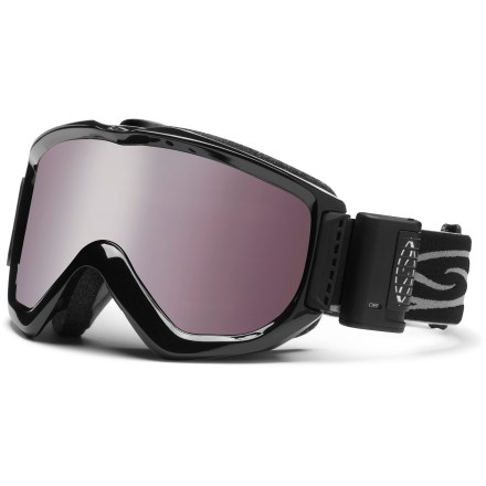 Ski Featuring a built-in fan, the Smith Knowledge Turbo Fan OTG snow goggles offer exceptional, fog-free performance and eyeglass compatibility for clear visibility in all conditions. OTG (over the glasses) design features an enlarged chamber that fits easily over most eyeglasses. 2-speed microelectronic fan runs very quietly, drawing air through vents even when you're stationary, helping eliminate fogging. Fan features a high-power mode to clear moisture build-up in extreme situations. Carbonic-X(TM) lens is molded to offer optimum scratch resistance, increased visual acuity and enhanced contrast sensitivity. Lens tapers from optical center toward the periphery and allows light rays to pass through without refraction, providing distortion-free vision for great terrain detail. Microporous filter attached to the lens increases fog resistance by allowing air molecules to pass through while blocking water molecules. Patented technology bonds the inner and outer lenses to prevent moisture from entering lenses while letting them breathe; 5x Anti-Fog inner lens offers superb fog protection. Dual-layer face foam is compression molded to seal out the elements and maximize comfort; fleece lining is comfortable against skin. Articulating strap positioning system transfers pressure evenly across the brow and nose to create a complete seal around the face. Extra-wide adjustable strap is backed with silicone grippers and comes with a clip buckle for easy on/off, even over a ski hat or helmet. Comes with Ignitor Mirror lens (rose copper tint, 35% visible light transmission). Includes a microfiber storage bag. Fan has 50 hrs. of run time powered by a single AAA battery, included. The Smith Knowledge Turbo Fan OTG snow goggles offer large overall volume and a fit designed for medium- and large-sized faces. - $160.00