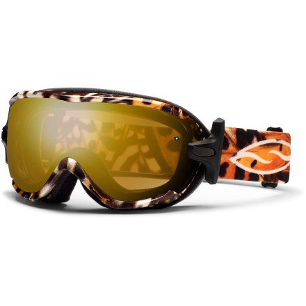 Ski The women's Smith Virtue Asian Fit snow goggles boast performance aplenty, thanks to a large field of vision, semi-rimless design and a tuned fit. Smith Spherical(TM) series lenses allow a wide field of vision and increased volume that maximizes airflow and reduces fogging. Carbonic-X(TM) outer lens is molded to offer optimum scratch resistance, increased visual acuity and enhanced contrast sensitivity. Lens tapers from optical center toward the periphery and allows light rays to pass through without refraction; this tapered lens shape provides distortion-free vision. Microporous filter attached to the outer lens increases fog resistance by automatically adjusting to elevation changes, allowing air to pass through while blocking moisture. Patented technology bonds the inner and outer lenses to prevent moisture from entering lenses while letting them breathe; 5x Anti-Fog inner lens offers superb fog protection. 3-layer face foam has a dense base to reduce hot spots, a plush middle layer and a soft fleece top layer to ensure a tight seal, manage moisture and maximize comfort. Extra-wide adjustable strap is backed with silicone grippers and comes with a clip buckle for easy on/off, even over a ski hat or helmet. Articulating Outrigger Positioning System puts pressure evenly across the brow and nose to create a complete seal and provide a comfortable, consistent fit, even with a helmet. Gold Sensor Mirror lens has a light rose lens tint and multilayer gold mirror, maximizing color definition and increase depth perception in varying and low light; 70% VLT. The Smith Virtue Asian Fit women's snow goggles offer a women's small fit. The Smith Virtue Asian Fit goggles have face foam shaped to offer a good seal around the nose and cheeks for those with low-profile nose bridges and flat facial features. - $83.83