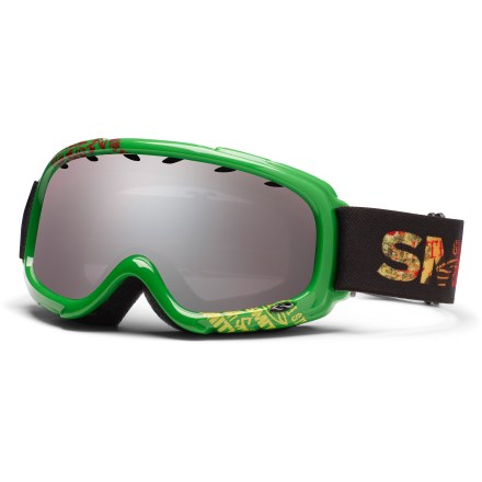 Ski The Smith Gambler Irie Fader kids' snow goggles offer performance aplenty for young powderhounds, including great fog prevention and a comfortable fit. Active ventilation system stops fog by evacuating moist air from inside the goggles. Dual-lens design bonds an outer and inner lens together with spacer foam between to create a thermal barrier that helps keep the inner lens warm and dry. Fog-X(TM) antifog treatment is bonded permanently to the inner lens for optimum fog-free vision. Self-adjusting split ''V'' nose piece and molded, dual-slide strap provide comfortable fit over the face and around the head. Ignitor Mirror lens tint is designed to reduce eye fatigue and enhance contrast and depth perception in all conditions; allows 35% visible light transmission. Foam membrane inside goggles reduces pressure from eyeglasses at the temples. Smith Gambler Irie Fader kids' snow goggles block 100% of the sun's UVA, UVB and UVC rays. - $26.83