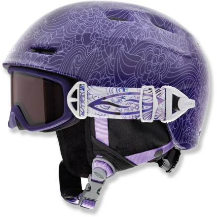 Ski Featuring magnets to attach goggles and keep track of them, the girls' Cosmos Jr. snow helmet and Galaxy snow goggles help protect your little skier with convenience and high performance. Goggles strap fits securely into small notch on side of helmet; magnets automatically help bring the goggles strap into connection with the locking notch. To detach goggles, simply slide goggles strap out of helmet notch. Cosmos Jr. snow helmet features in-mold construction that bonds the liner directly to the shell to create durable strength and light weight. Airflow travels from goggles, through internal channels in the foam and out through external vents. Helmet fit system ensures easy operation and a correct fit thanks to an intuitive pinch/pull design with 3 attachment points. Fleece tricot helmet lining offers excellent insulation and a soft feel. Galaxy snow goggles feature double lenses that help prevent fogging by creating an insulating barrier between cold outer air and warm air inside the goggles. Antifog treatment is bonded permanently to the inner lens for optimum fog-free vision. Hypoallergenic face foam creates a comfortable fit without pinching. RC36 lens tint combines rose and copper base tints to optimize vision in a variety of conditions; allows 36 percent visible light transmission. - $80.00