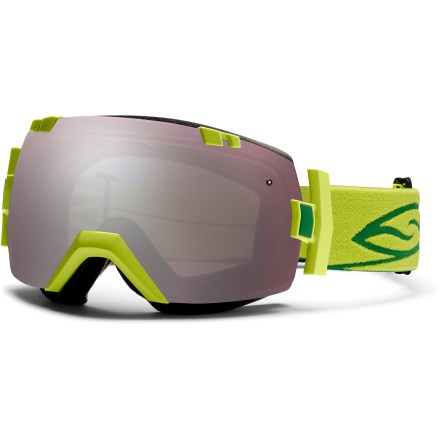Ski The Smith I/OX snow goggles fit medium- and large-size faces and offer excellent optics, easy lens interchangeability and a sleek rimless look for great performance on the slopes. With the flip of a switch, the helmet-compatible Smith I/OX goggles can change lenses to optimize performance in all conditions. Smith Spherical(TM) series lenses allow a wide field of vision and increased volume that maximizes airflow and reduces fogging. Carbonic-X(TM) lens is individually molded to offer optimum scratch resistance, increased visual acuity and enhanced contrast sensitivity. Lens is tapered from optical center toward the periphery and allows light rays to pass through without refraction. This tapered lens shape provides distortion-free vision for the most accurate interpretation of the terrain that lies ahead. Microporous filter attached to the lens increases fog resistance by allowing air molecules to pass through while blocking water molecules. Patented technology bonds the inner and outer lenses to prevent moisture from entering lenses while letting them breathe; 5x Anti-Fog inner lens offers superb fog protection. 3-layer face foam has a dense base to reduce hot spots, a plush middle layer and a soft fleece top layer to ensure a tight seal, manage moisture and maximize comfort. Extra-wide adjustable strap is backed with silicone grippers and comes with a clip buckle for easy on/off, even over a ski hat or helmet. Black frame color comes with Red Sol-X Mirror lens (dark sienna brown tint, 17% visible light transmission (VLT)) and Blue Sensor Mirror lens (light rose tint, 70% VLT). Lime frame color comes with Ignitor Mirror lens (rose copper tint, 35% VLT) and Sensor Mirror lens (light rose tint, 70% VLT). Rust Kilgore frame color comes with Gold Sol-X Mirror lens (dark sienna brown tint, 7% VLT) and Red Sensor Mirror lens (light rose tint, 60% VLT). - $175.00